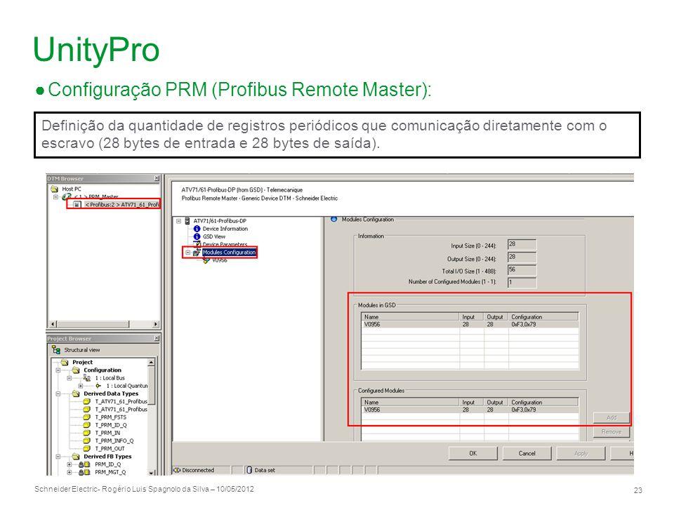 Schneider Electric 23 - Rogério Luis Spagnolo da Silva – 10/05/2012 UnityPro Configuração PRM (Profibus Remote Master): Definição da quantidade de reg