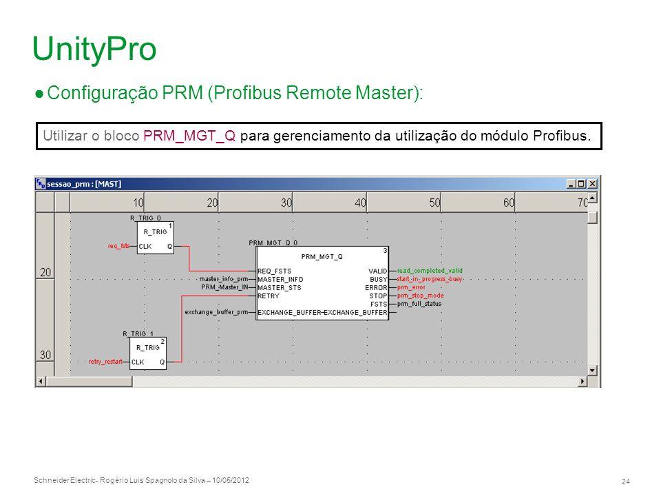 Schneider Electric 24 - Rogério Luis Spagnolo da Silva – 10/05/2012 UnityPro Configuração PRM (Profibus Remote Master): Utilizar o bloco PRM_MGT_Q par