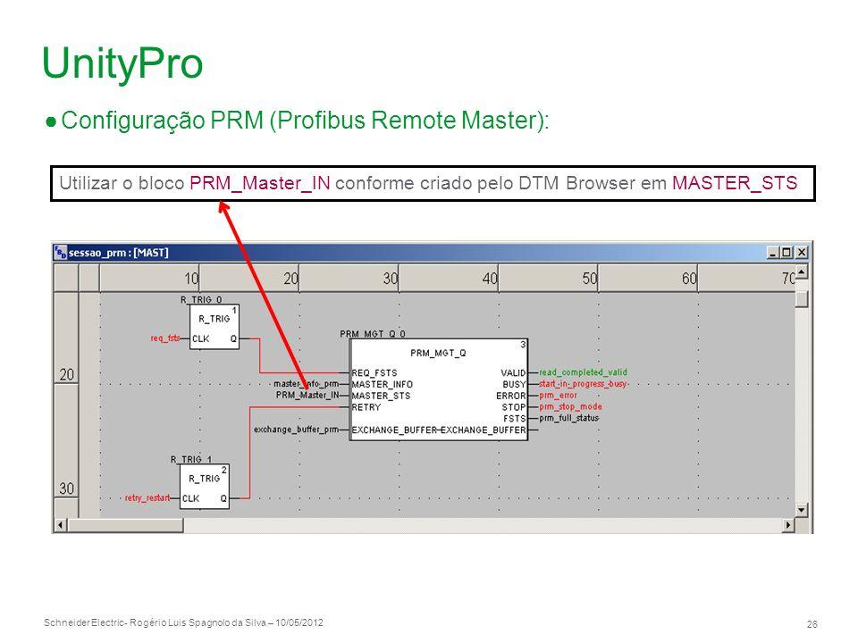 Schneider Electric 26 - Rogério Luis Spagnolo da Silva – 10/05/2012 UnityPro Configuração PRM (Profibus Remote Master): Utilizar o bloco PRM_Master_IN