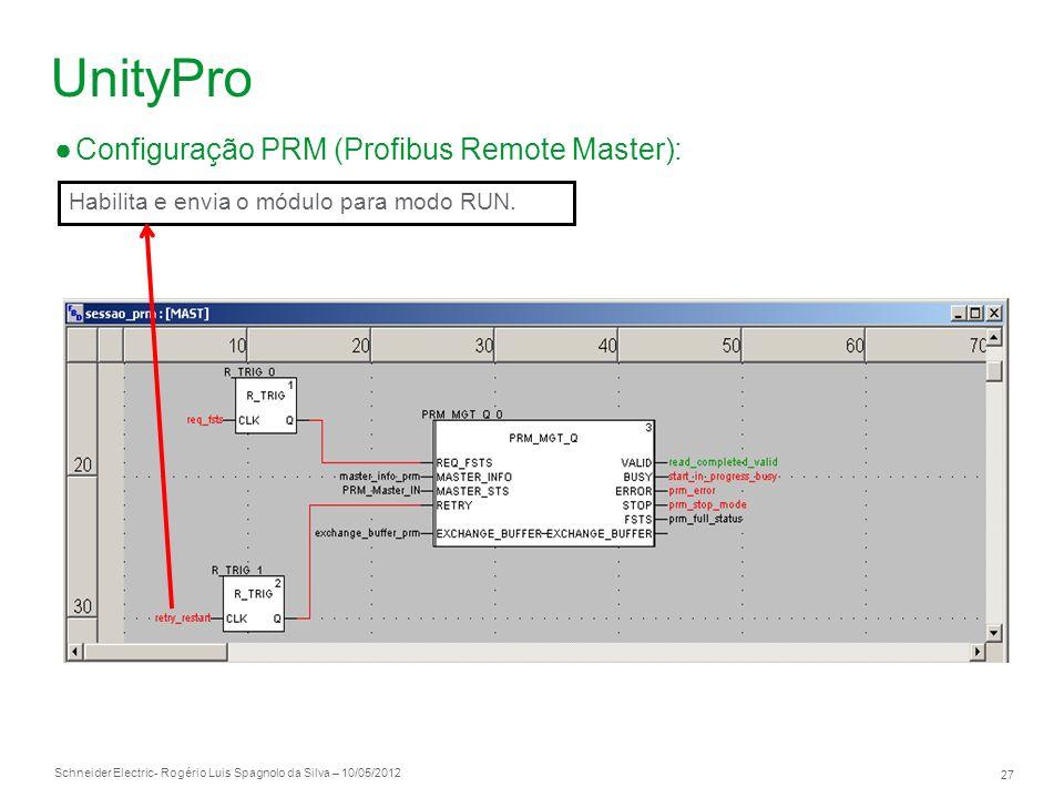 Schneider Electric 27 - Rogério Luis Spagnolo da Silva – 10/05/2012 UnityPro Configuração PRM (Profibus Remote Master): Habilita e envia o módulo para