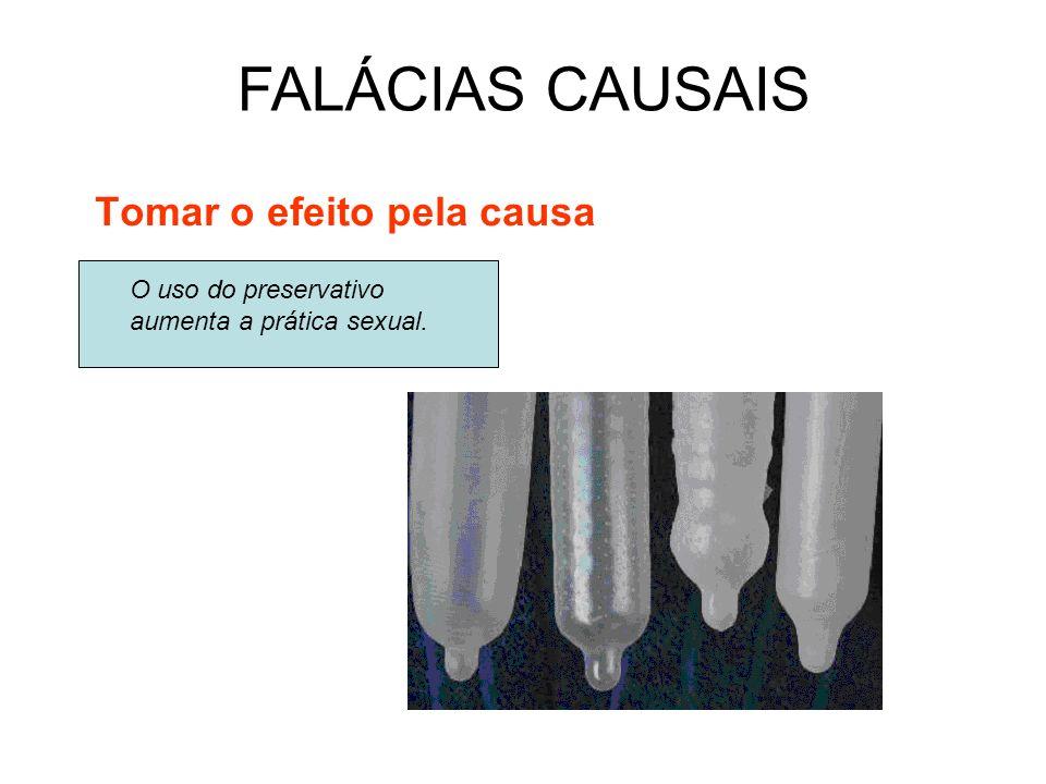 Tomar o efeito pela causa FALÁCIAS CAUSAIS O uso do preservativo aumenta a prática sexual.