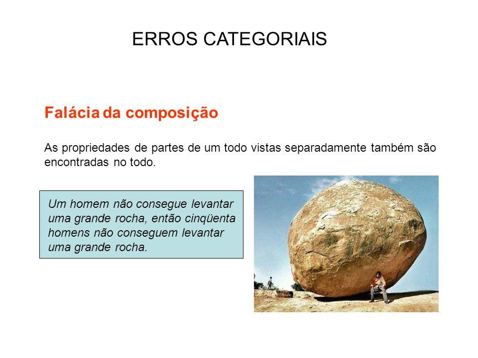 ERROS CATEGORIAIS As propriedades de partes de um todo vistas separadamente também são encontradas no todo. Falácia da composição Um homem não consegu