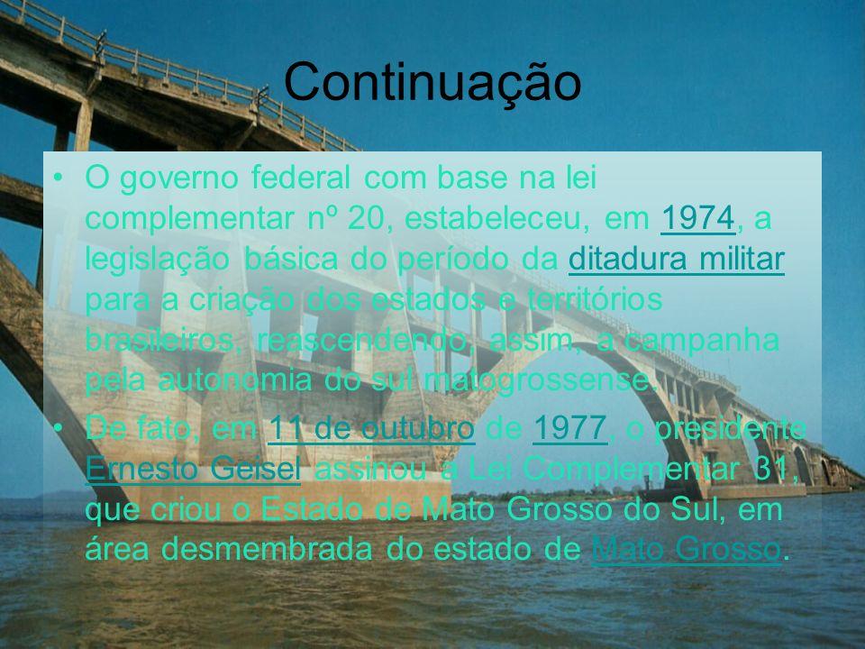 Continuação O governo federal com base na lei complementar nº 20, estabeleceu, em 1974, a legislação básica do período da ditadura militar para a cria