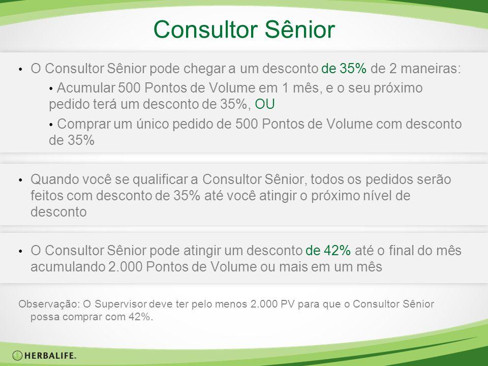 Consultor Sênior O Consultor Sênior pode chegar a um desconto de 35% de 2 maneiras: Acumular 500 Pontos de Volume em 1 mês, e o seu próximo pedido ter