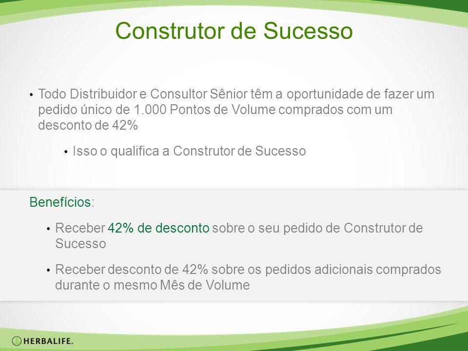Construtor de Sucesso Todo Distribuidor e Consultor Sênior têm a oportunidade de fazer um pedido único de 1.000 Pontos de Volume comprados com um desc