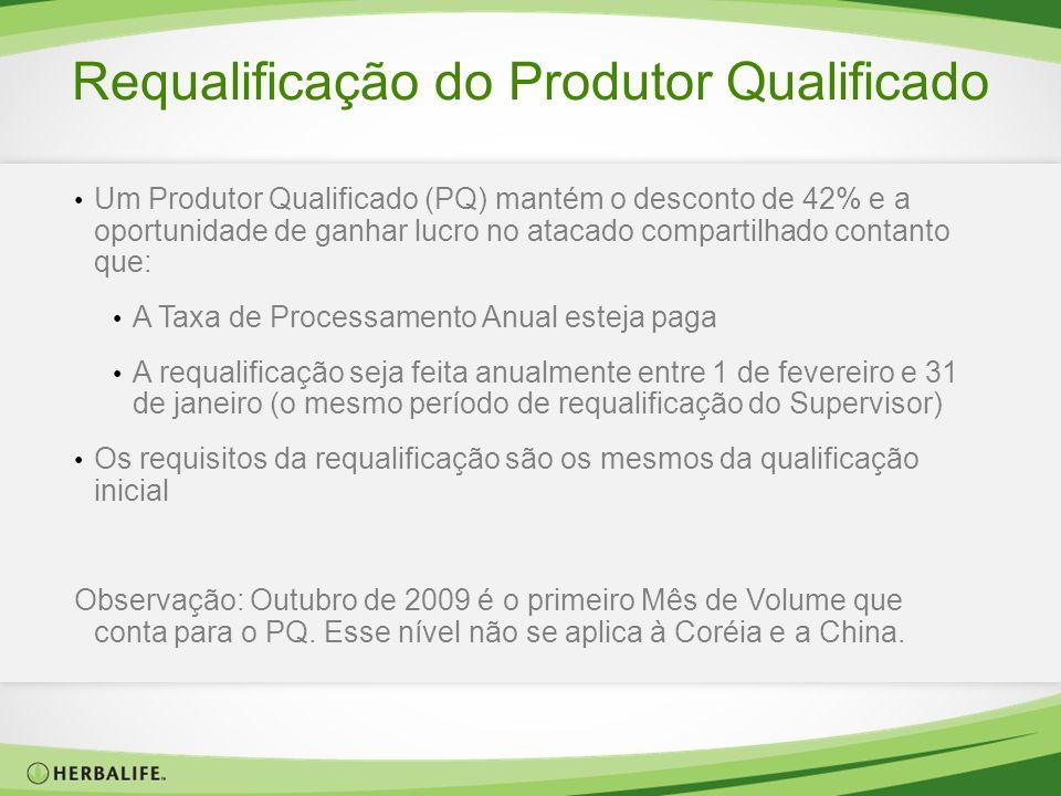 Requalificação do Produtor Qualificado Um Produtor Qualificado (PQ) mantém o desconto de 42% e a oportunidade de ganhar lucro no atacado compartilhado
