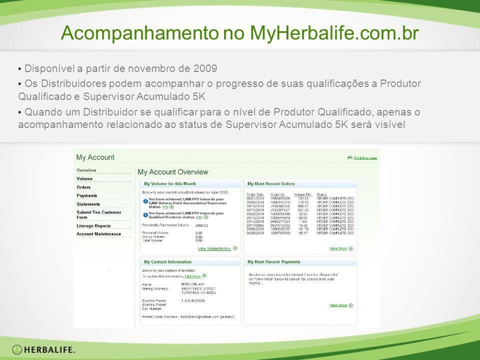 Acompanhamento no MyHerbalife.com.br Disponível a partir de novembro de 2009 Os Distribuidores podem acompanhar o progresso de suas qualificações a Pr