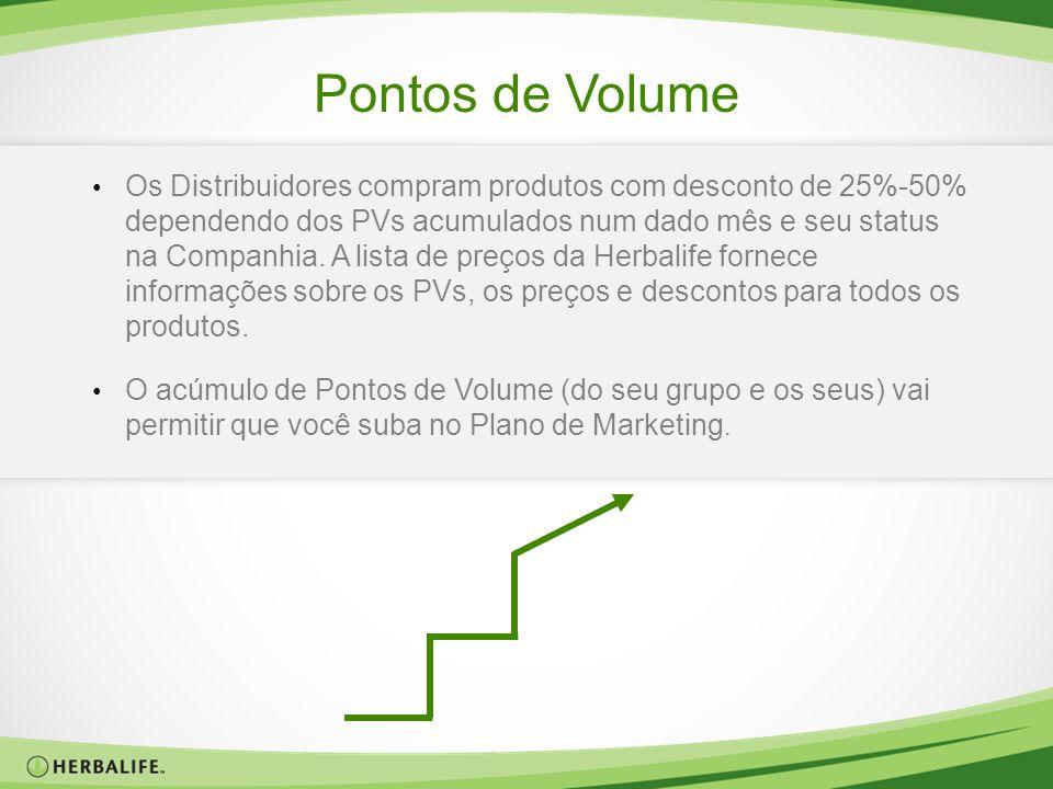 Pontos de Volume Os Distribuidores compram produtos com desconto de 25%-50% dependendo dos PVs acumulados num dado mês e seu status na Companhia. A li