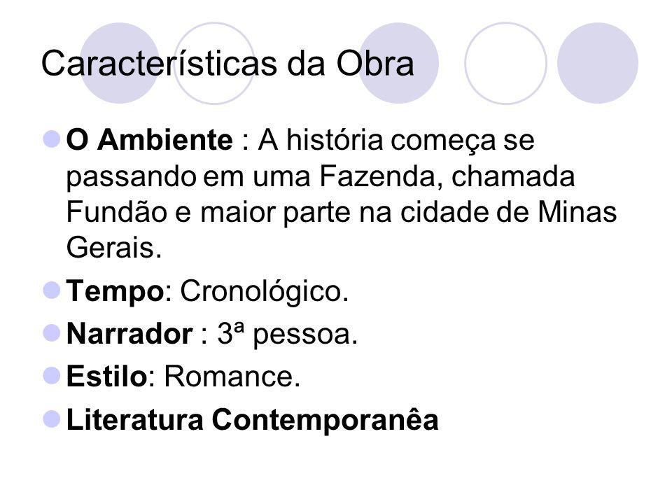Características da Obra O Ambiente : A história começa se passando em uma Fazenda, chamada Fundão e maior parte na cidade de Minas Gerais. Tempo: Cron