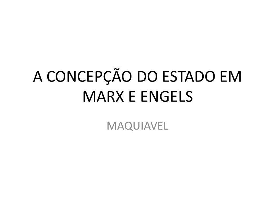 A CONCEPÇÃO DO ESTADO EM MARX E ENGELS MAQUIAVEL