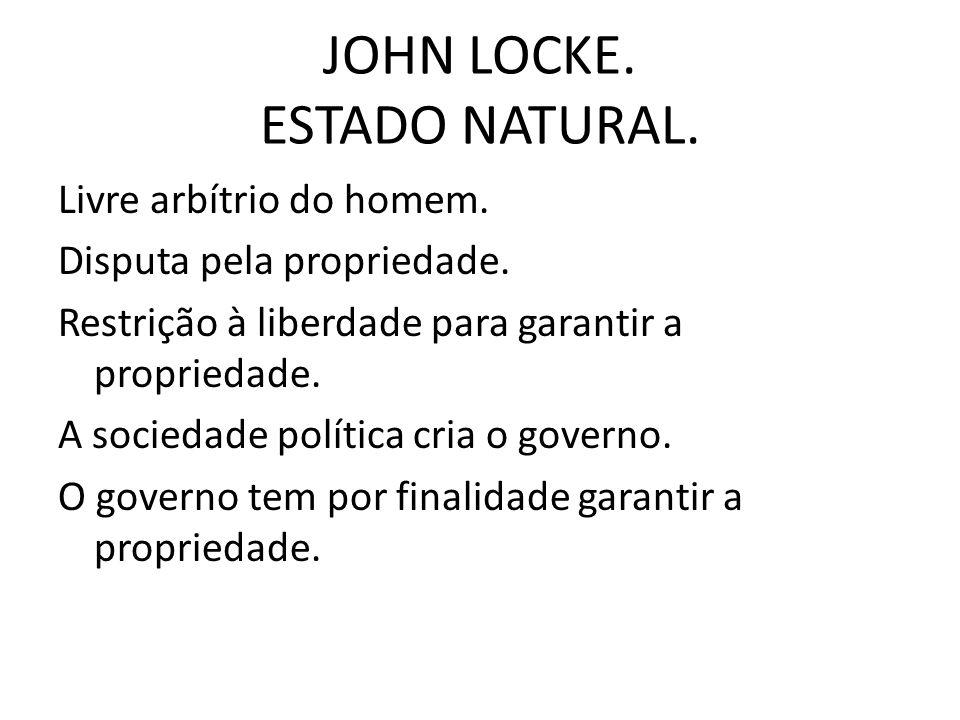 JOHN LOCKE.ESTADO NATURAL. Livre arbítrio do homem.