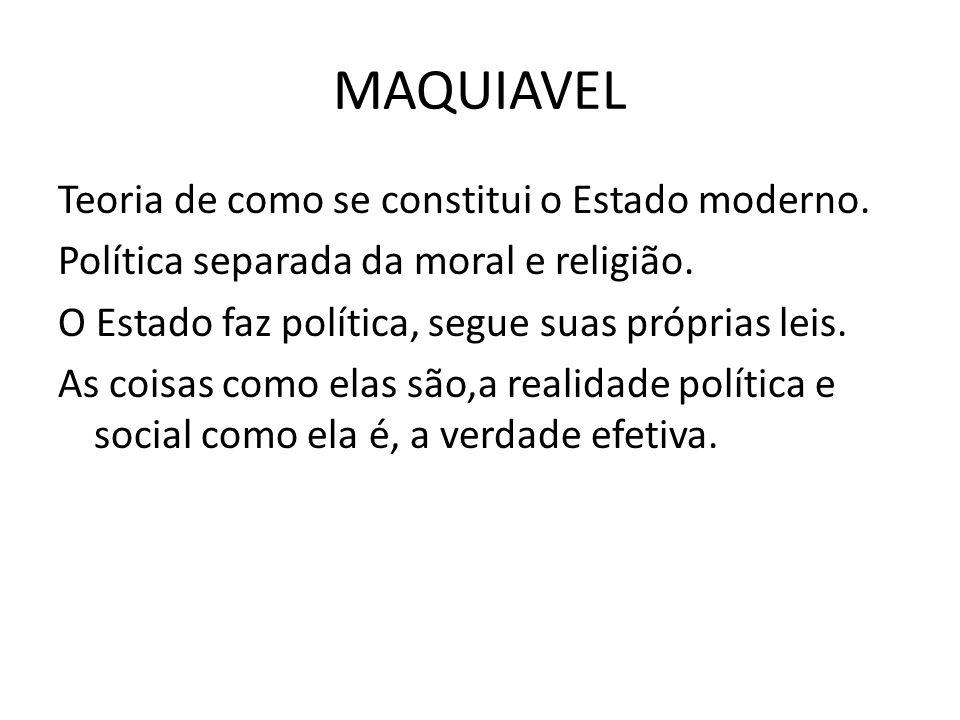 Teoria de como se constitui o Estado moderno.Política separada da moral e religião.