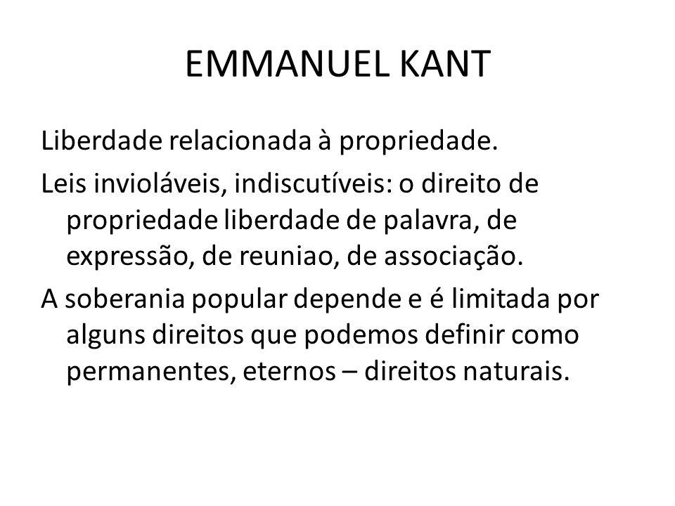 EMMANUEL KANT Liberdade relacionada à propriedade.