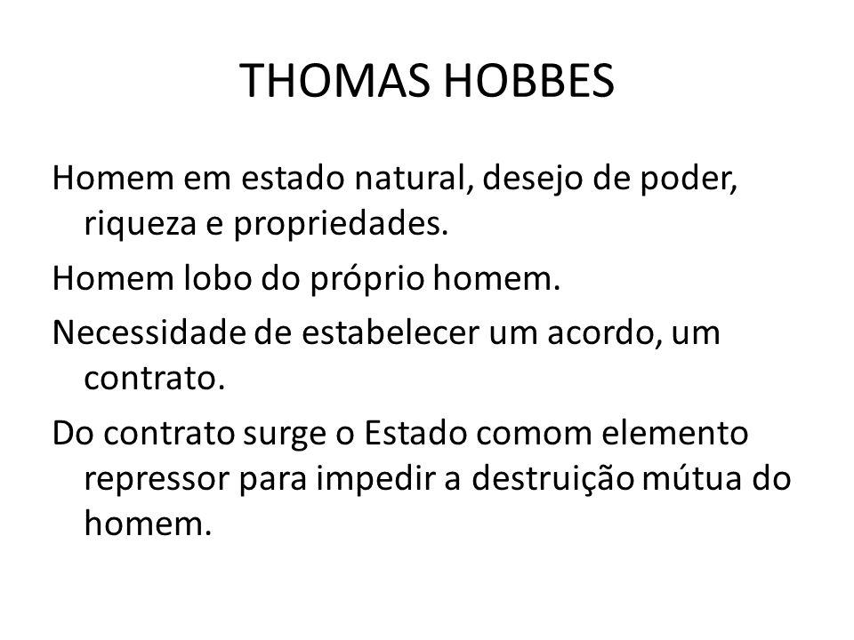 THOMAS HOBBES Homem em estado natural, desejo de poder, riqueza e propriedades.