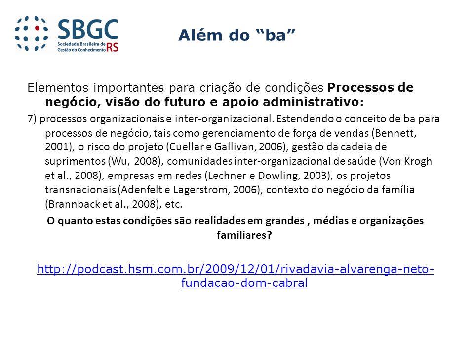 Elementos importantes para criação de condições Processos de negócio, visão do futuro e apoio administrativo: 7) processos organizacionais e inter-org