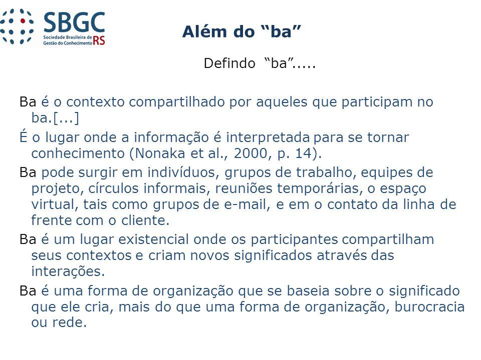Defindo ba..... Ba é o contexto compartilhado por aqueles que participam no ba.[...] É o lugar onde a informação é interpretada para se tornar conheci