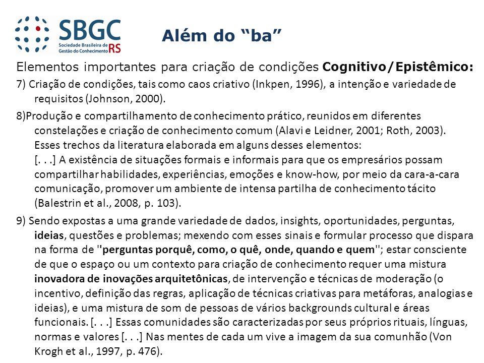 Elementos importantes para criação de condições Cognitivo/Epistêmico: 7) Criação de condições, tais como caos criativo (Inkpen, 1996), a intenção e va