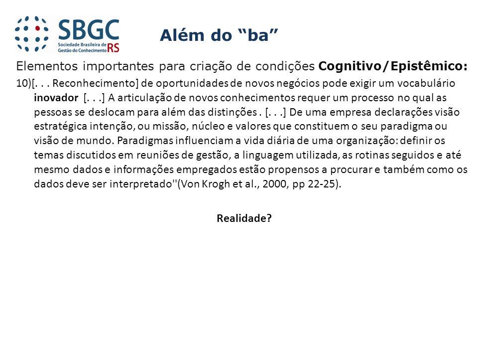 Elementos importantes para criação de condições Cognitivo/Epistêmico: 10)[... Reconhecimento] de oportunidades de novos negócios pode exigir um vocabu