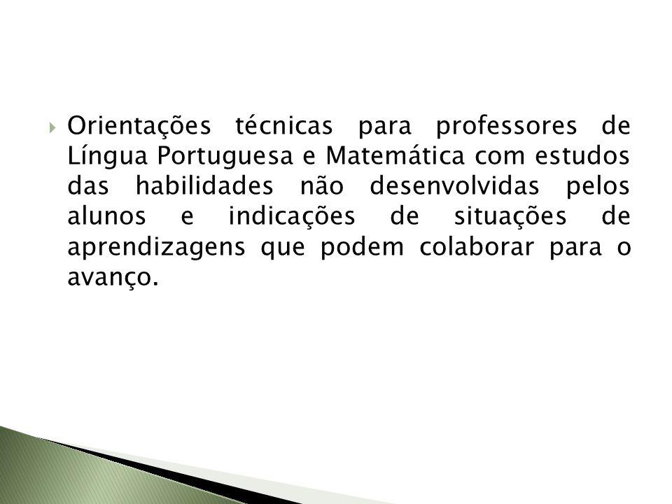 Orientações técnicas para professores de Língua Portuguesa e Matemática com estudos das habilidades não desenvolvidas pelos alunos e indicações de sit