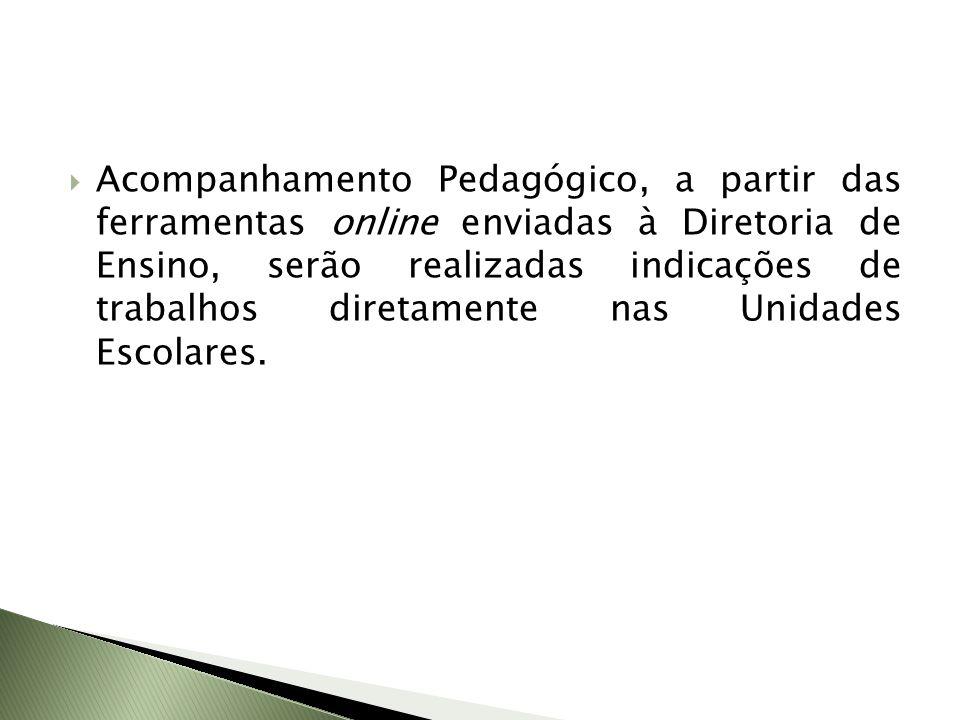 Acompanhamento Pedagógico, a partir das ferramentas online enviadas à Diretoria de Ensino, serão realizadas indicações de trabalhos diretamente nas Un