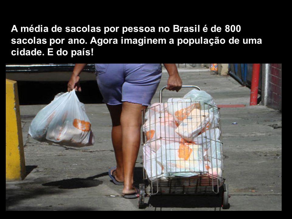 A média de sacolas por pessoa no Brasil é de 800 sacolas por ano. Agora imaginem a população de uma cidade. E do país!