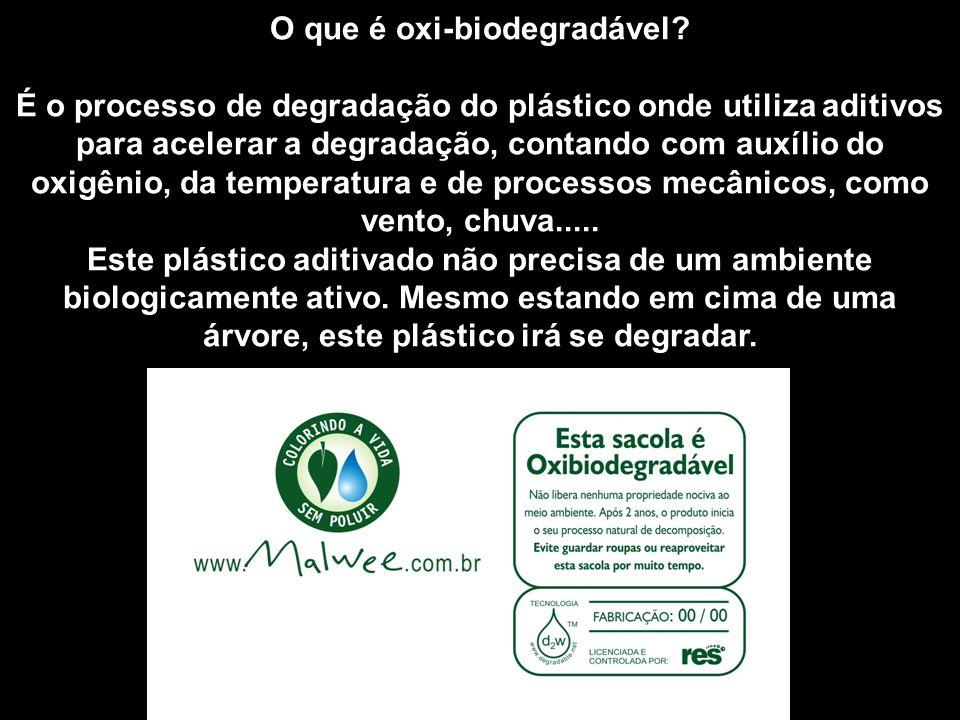 O que é oxi-biodegradável? É o processo de degradação do plástico onde utiliza aditivos para acelerar a degradação, contando com auxílio do oxigênio,
