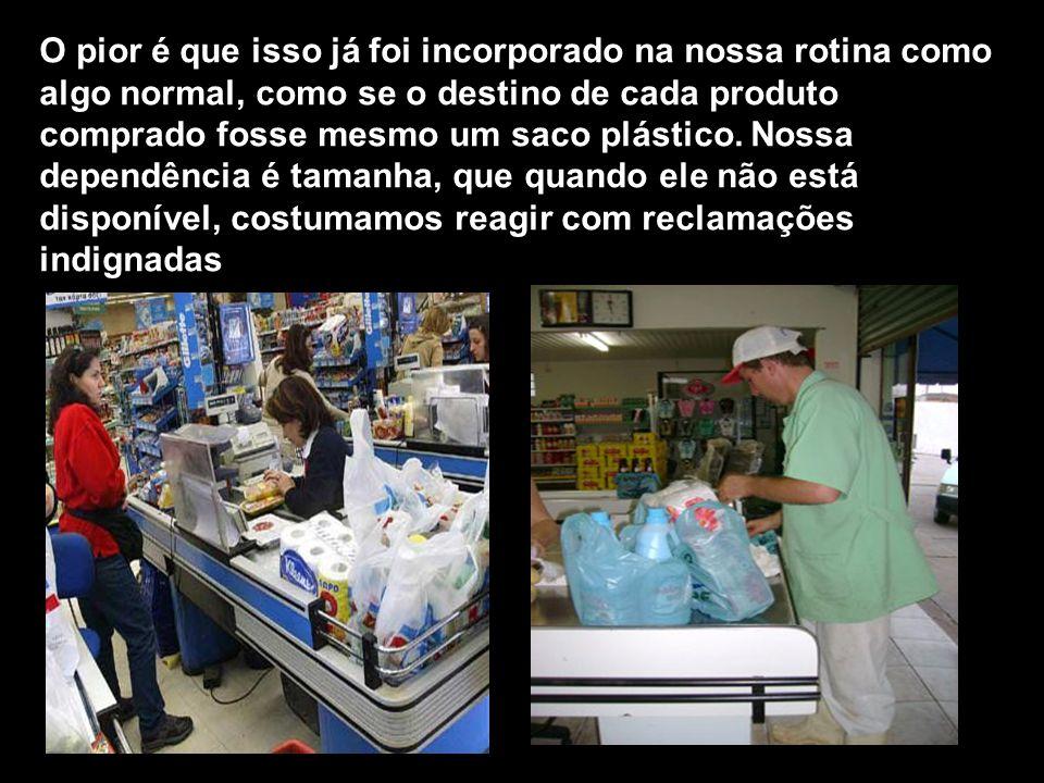 Aproximadamente 56% do lixo plástico é composto por embalagens usadas uma só vez.