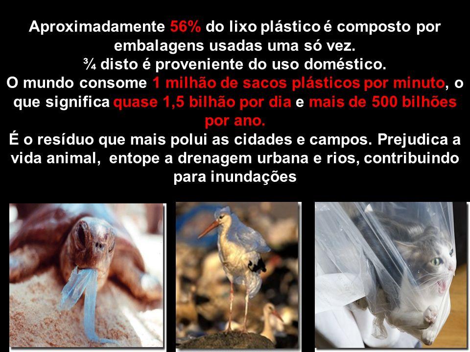 Aproximadamente 56% do lixo plástico é composto por embalagens usadas uma só vez. ¾ disto é proveniente do uso doméstico. O mundo consome 1 milhão de