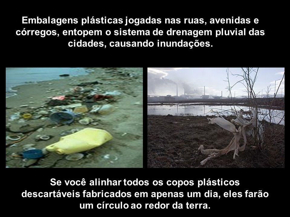 Embalagens plásticas jogadas nas ruas, avenidas e córregos, entopem o sistema de drenagem pluvial das cidades, causando inundações. Se você alinhar to