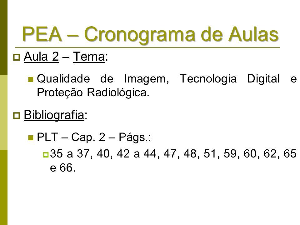 PEA – Cronograma de Aulas Aula 2 – Tema: Qualidade de Imagem, Tecnologia Digital e Proteção Radiológica. Bibliografia: PLT – Cap. 2 – Págs.: 35 a 37,