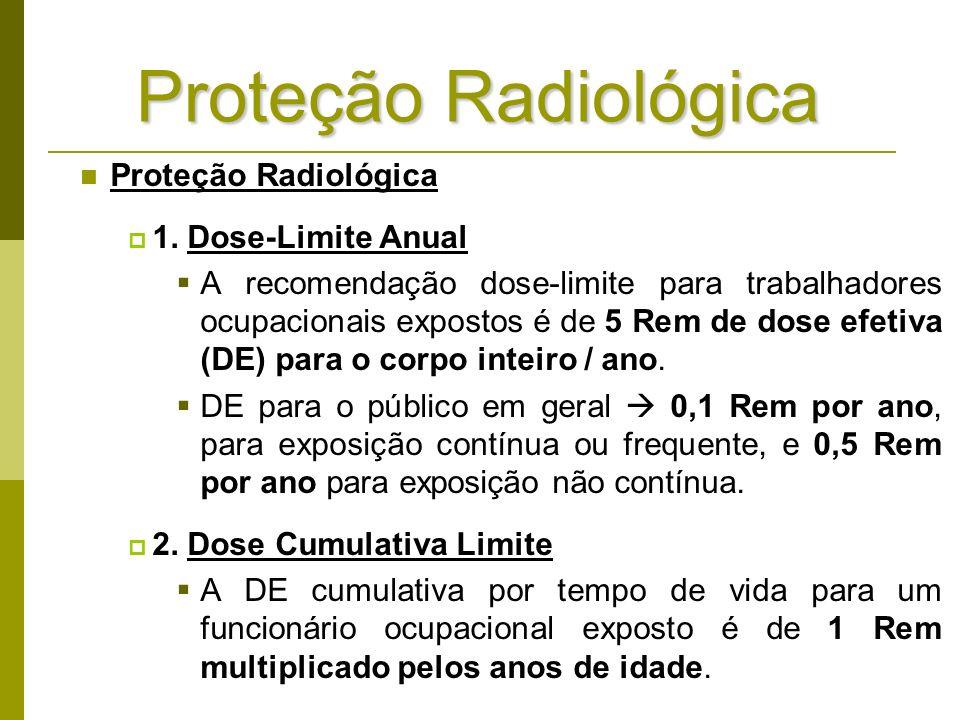 Proteção Radiológica 1. Dose-Limite Anual A recomendação dose-limite para trabalhadores ocupacionais expostos é de 5 Rem de dose efetiva (DE) para o c