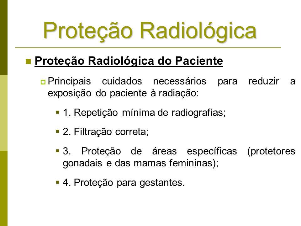 Proteção Radiológica do Paciente Principais cuidados necessários para reduzir a exposição do paciente à radiação: 1. Repetição mínima de radiografias;