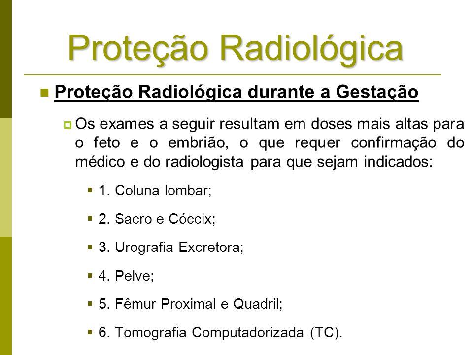 Proteção Radiológica Proteção Radiológica durante a Gestação Os exames a seguir resultam em doses mais altas para o feto e o embrião, o que requer con