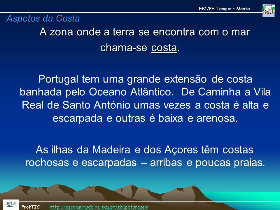 Aspetos da Costa A zona onde a terra se encontra com o mar chama-se costa chama-se costa. Portugal tem uma grande extensão de costa banhada pelo Ocean