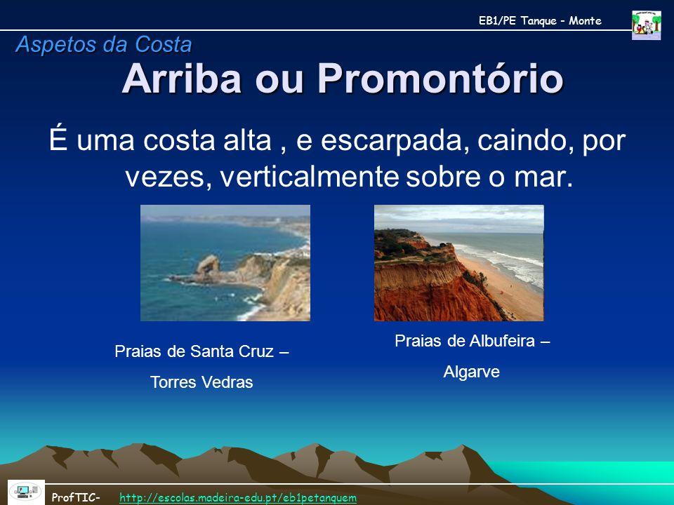 Arriba ou Promontório É uma costa alta, e escarpada, caindo, por vezes, verticalmente sobre o mar. Praias de Santa Cruz – Torres Vedras Praias de Albu