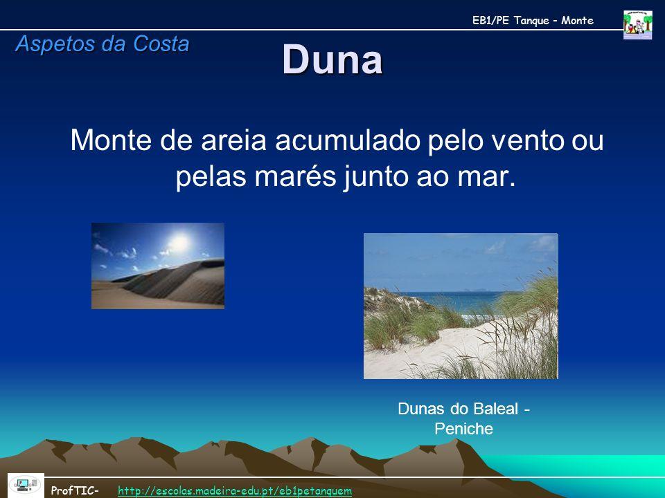 Duna Monte de areia acumulado pelo vento ou pelas marés junto ao mar. Dunas do Baleal - Peniche EB1/PE Tanque - Monte ProfTIC- http://escolas.madeira-