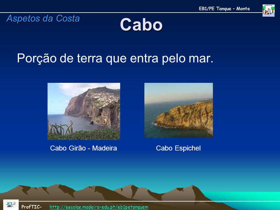 Cabo Porção de terra que entra pelo mar. Cabo Girão - MadeiraCabo Espichel EB1/PE Tanque - Monte ProfTIC- http://escolas.madeira-edu.pt/eb1petanquemht
