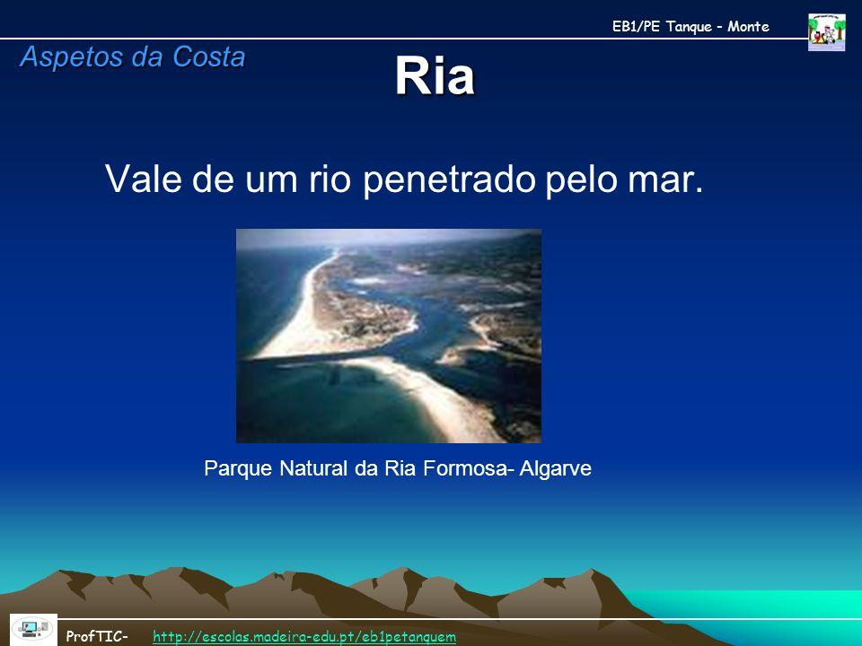 Ria Vale de um rio penetrado pelo mar. Parque Natural da Ria Formosa- Algarve EB1/PE Tanque - Monte ProfTIC- http://escolas.madeira-edu.pt/eb1petanque