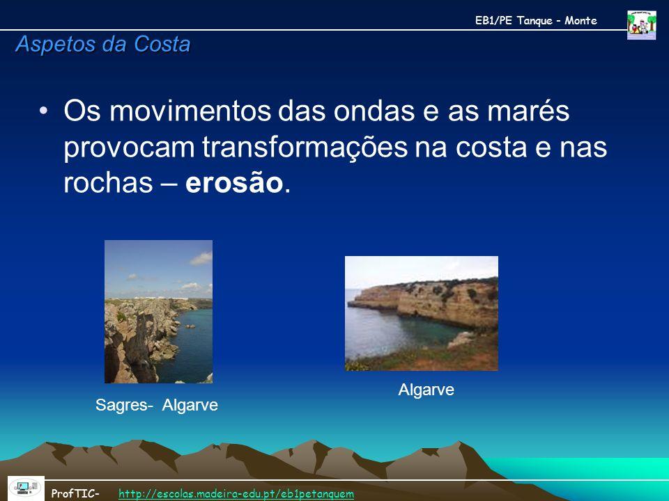Os movimentos das ondas e as marés provocam transformações na costa e nas rochas – erosão. EB1/PE Tanque - Monte ProfTIC- http://escolas.madeira-edu.p
