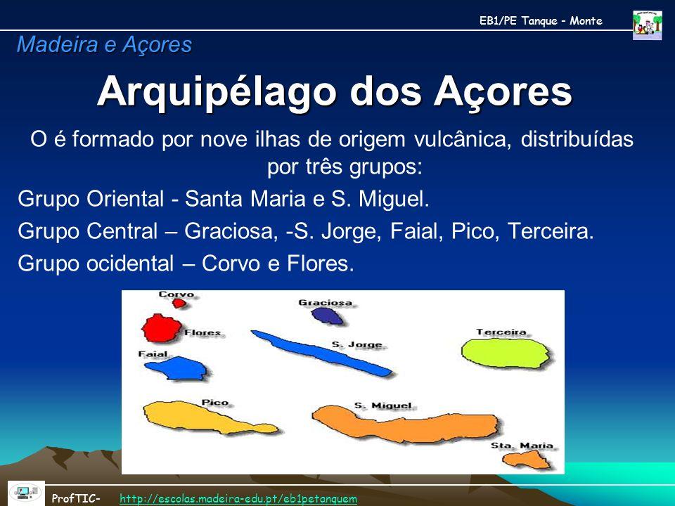 Arquipélago dos Açores O é formado por nove ilhas de origem vulcânica, distribuídas por três grupos: Grupo Oriental - Santa Maria e S. Miguel. Grupo C
