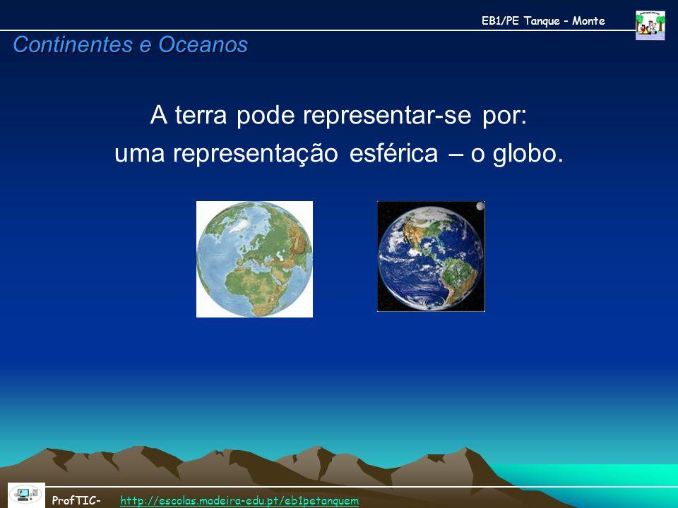 Continentes e Oceanos A terra pode representar-se por: uma representação esférica – o globo. EB1/PE Tanque - Monte ProfTIC- http://escolas.madeira-edu