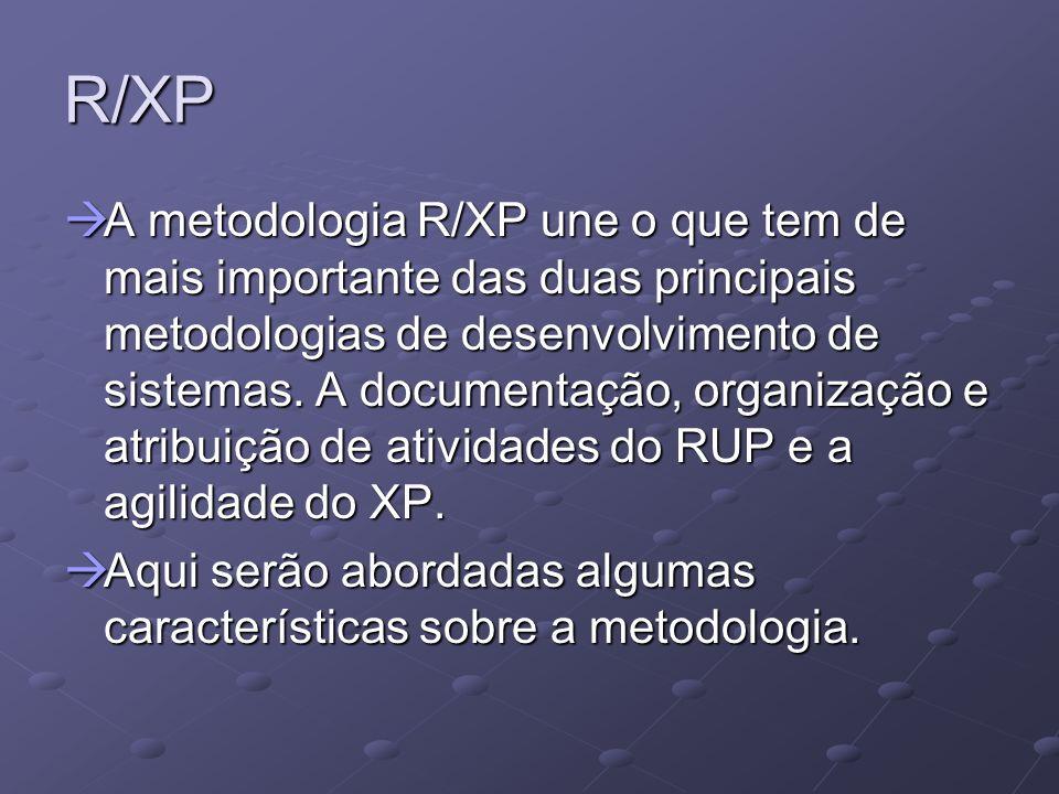 R/XP Características do RUP: Características do RUP: Desenvolvimento iterativo Desenvolvimento iterativo O objetivo de usar o desenvolvimento iterativo na metodologia R/XP é para gerar um release ao final de cada iteração, fazendo assim o cliente aprovar o que esta sendo desenvolvido.