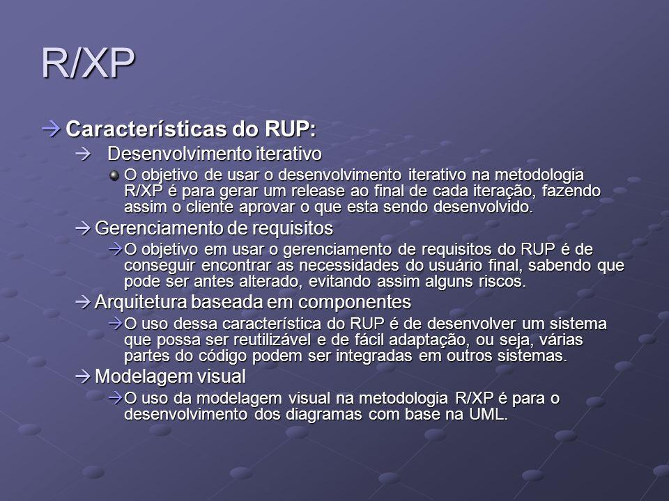 R/XP Características do XP: Características do XP: Metáfora Metáfora A metáfora tem como objetivo, facilitar a comunicação com o cliente para entender a sua realidade, assim, o projetista vai saber até onde o cliente vai querer o sistema.