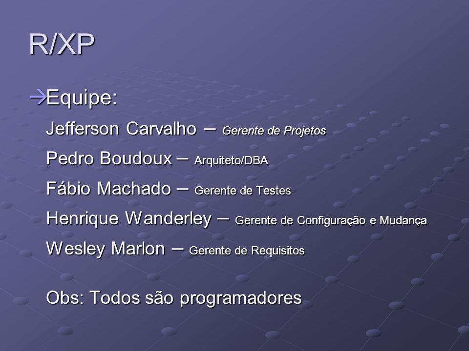 R/XP Equipe: Equipe: Jefferson Carvalho – Gerente de Projetos Pedro Boudoux – Arquiteto/DBA Fábio Machado – Gerente de Testes Henrique Wanderley – Ger