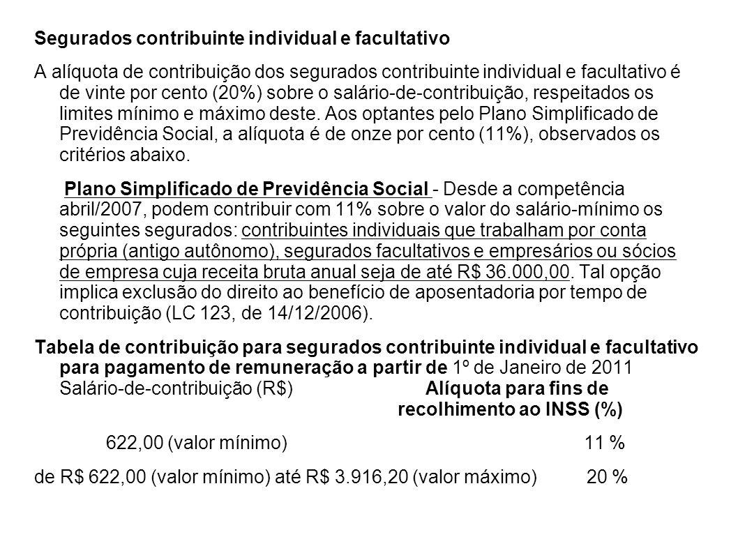 Segurados contribuinte individual e facultativo A alíquota de contribuição dos segurados contribuinte individual e facultativo é de vinte por cento (2