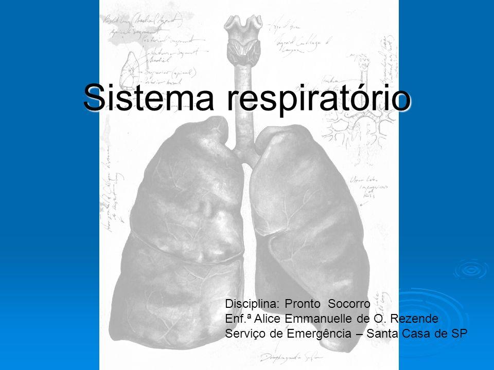 Sistema respiratório Disciplina: Pronto Socorro Enf.ª Alice Emmanuelle de O. Rezende Serviço de Emergência – Santa Casa de SP