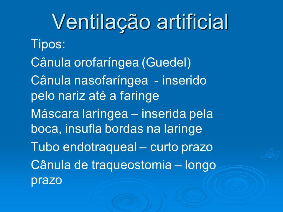 Ventilação artificial Tipos: Cânula orofaríngea (Guedel) Cânula nasofaríngea - inserido pelo nariz até a faringe Máscara laríngea – inserida pela boca