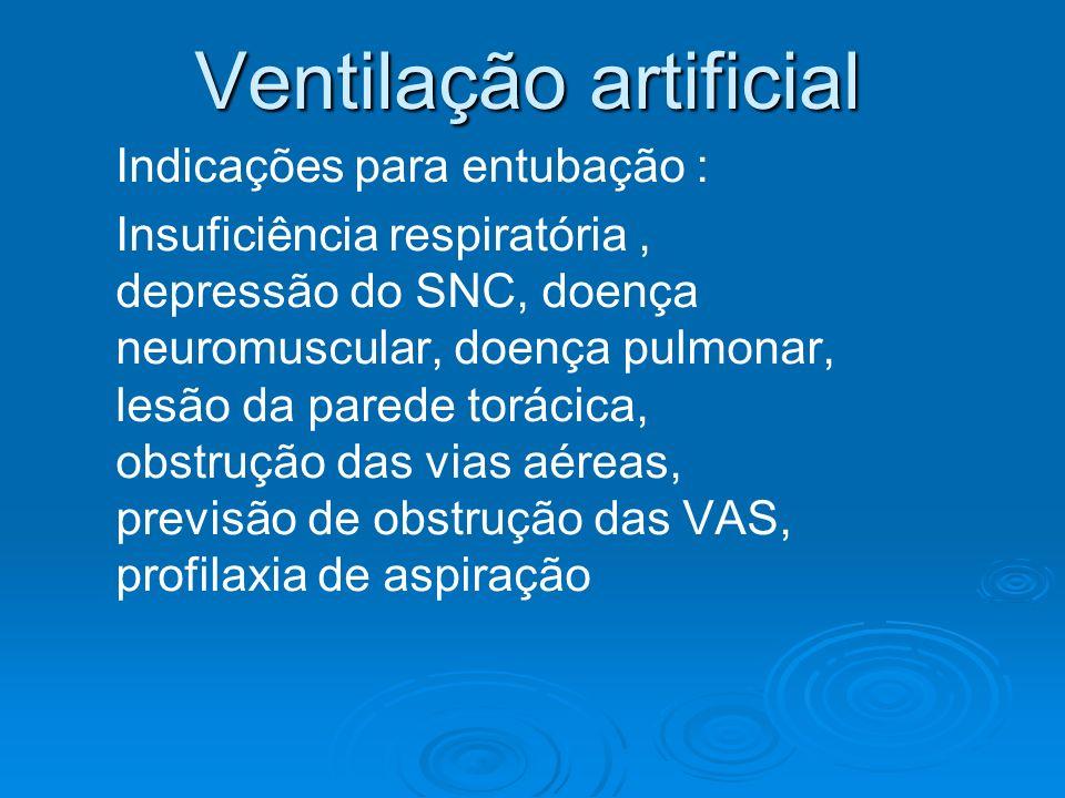Ventilação artificial Indicações para entubação : Insuficiência respiratória, depressão do SNC, doença neuromuscular, doença pulmonar, lesão da parede