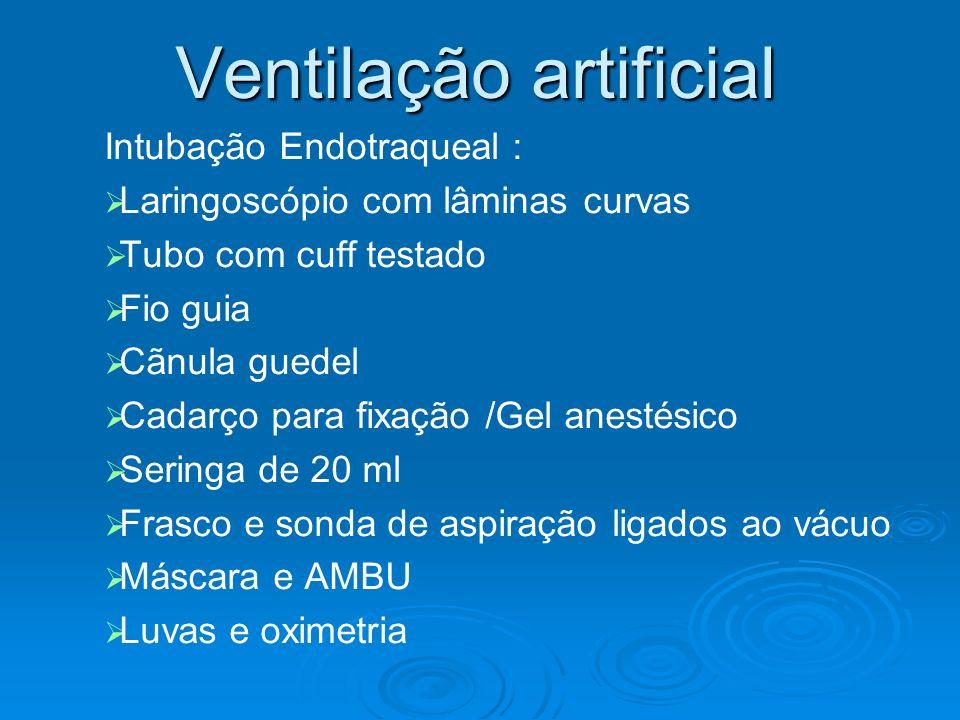 Ventilação artificial Intubação Endotraqueal : Laringoscópio com lâminas curvas Tubo com cuff testado Fio guia Cãnula guedel Cadarço para fixação /Gel
