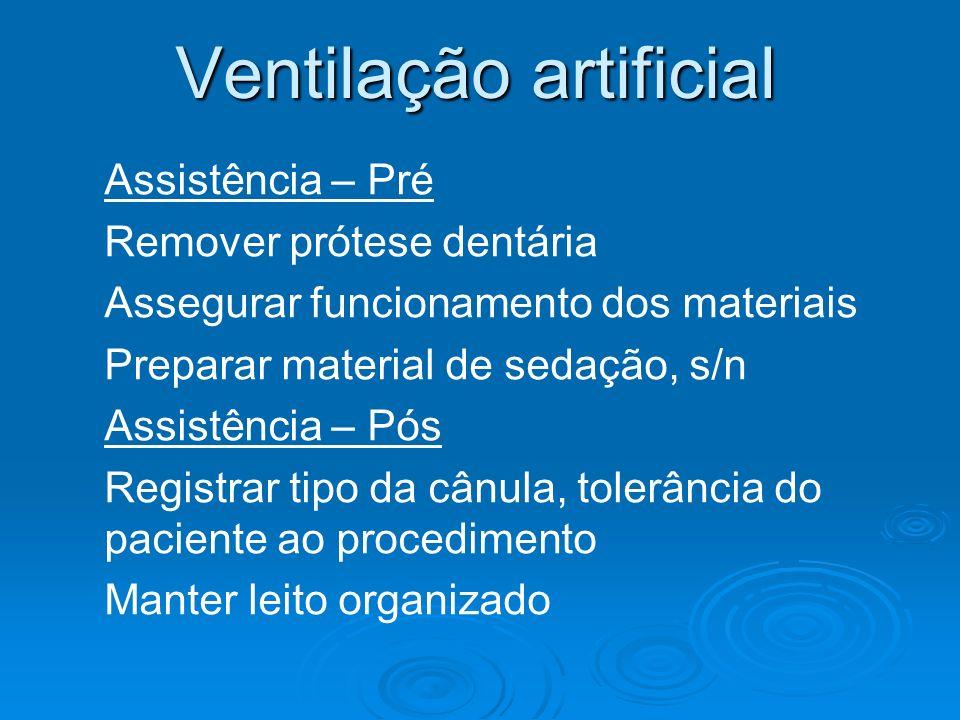 Ventilação artificial Assistência – Pré Remover prótese dentária Assegurar funcionamento dos materiais Preparar material de sedação, s/n Assistência –